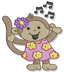 Singing Beach Monkey embroidery design