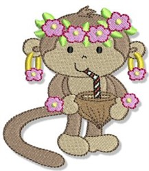 Beach Monkey & Cocktail embroidery design