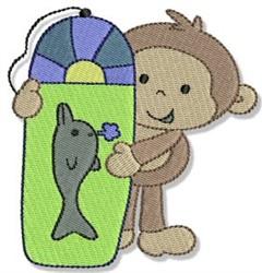 Wakeboarding Beach Monkey embroidery design