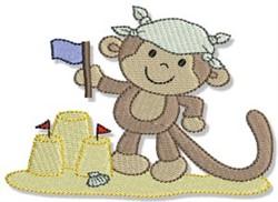 Sand Castle Beach Monkey embroidery design