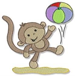 Beach Monkey & Ball embroidery design