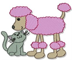 Cute Poodle & Kitten embroidery design