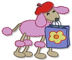 French Shopping Poodle embroidery design