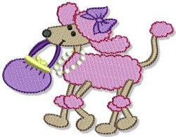 Poodle With A Purse embroidery design