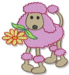 Pink Poodle & Daisy embroidery design