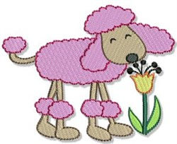 Flower Sniffing Poodle embroidery design