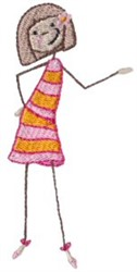 Dressed Up Little Girl embroidery design
