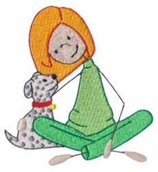 Little Girl & Puppy embroidery design
