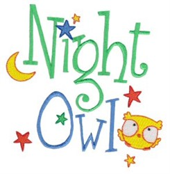 Tiny Tot Night Owl embroidery design