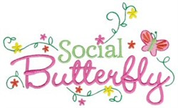 Tiny Tot Social Butterfly embroidery design