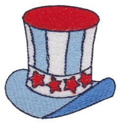 Patriotic Mini Top Hat embroidery design