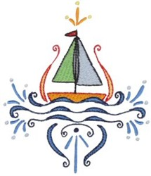 Swirly Sailboat embroidery design