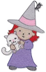 Girl Witch embroidery design