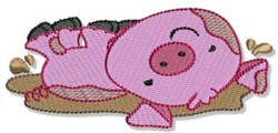 Pig In Mud embroidery design