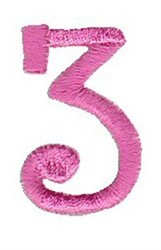 Number 3 embroidery design