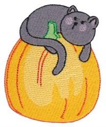Cat & Pumpkiin embroidery design