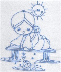 Fishing Boy Bluework embroidery design