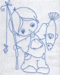 Bluework Boy & Fish embroidery design