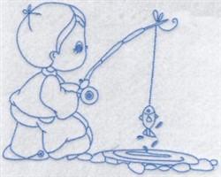 Bluework Boy Fishing embroidery design
