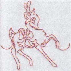 Christmas Redwork Reindeer embroidery design