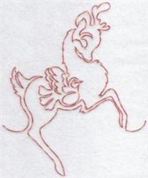 Redwork Reindeer & Dove embroidery design