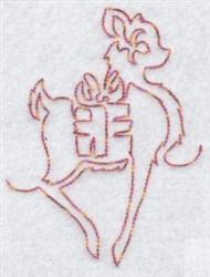 Redwork Reindeer & Gift embroidery design