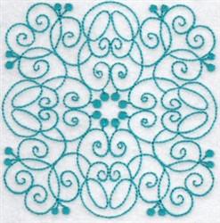 Wavy Bluework Quilt Block embroidery design