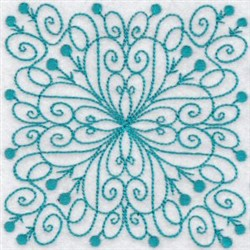 Loopy Bluework Quilt Block embroidery design