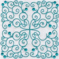 Bluework Quilt Block Swirls embroidery design