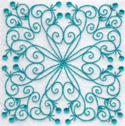 Floral Bluework Quilt Block embroidery design