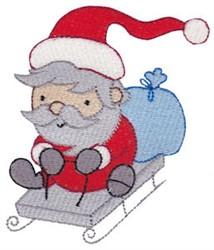 Sledding Santa embroidery design