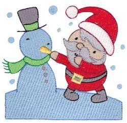 Santa & A Snowman embroidery design