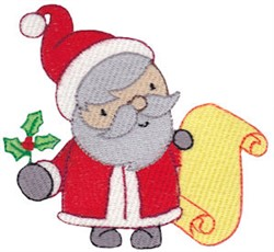 Santa & His List embroidery design
