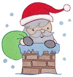 Santa In A Chimney embroidery design