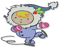 Ice Skating Little Eskimo embroidery design