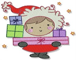 Little Eskimo With Gifts embroidery design