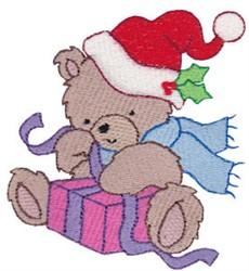 Christmas Bear & Present embroidery design