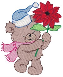 Christmas Bear & Poinsettia embroidery design