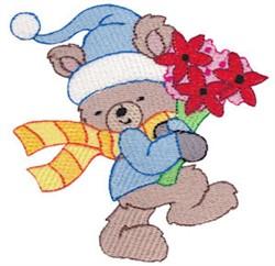 Christmas Bear & Flowers embroidery design