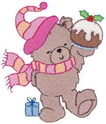Christmas Bear & Cake embroidery design