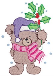 Christmas Bear & Holly embroidery design