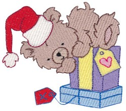 Christmas Bear With Gifts embroidery design
