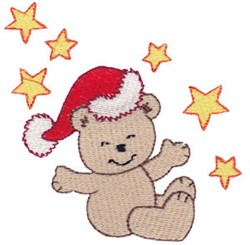 Christmas Bear & Stars embroidery design