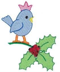 Bluebird & Holly embroidery design