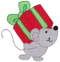 Christmas Mouse & Gift embroidery design