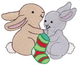 Christmas Bunnies & Stocking embroidery design