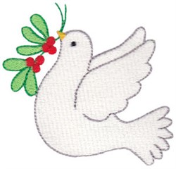 Christmas Dove & Holly embroidery design