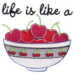 A Bowl Of Cherries embroidery design