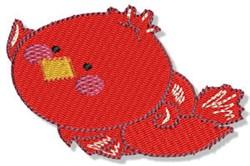 Cartoon Flying Redbird embroidery design