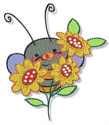 Bumblebee In The Flowers embroidery design